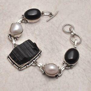 Black Tourmaline Rough Pearl Gift Jewelry Handmade Bracelet 25 Gms AB 48763