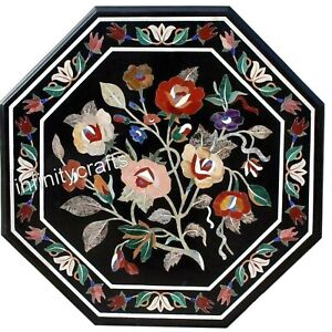 24 x 24 Inches Black Patio Coffee Table Flower Design Inlaid Sofa Table Top