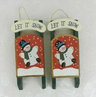 "Set of 2 Wood Sled Christmas Ornaments Snowman ""Let It Snow"" 8.5"""