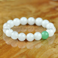 A+ 10mm White Jade & green Emerald Gemstone Beads Bangle Stretchy Bracelet 7.5""