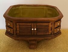 """Napcoware Ceramic Wooden Look Planter 5 1/4"""" Square 3"""" Tall 1 3/4"""" Deep New"""