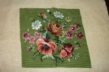VINTAGE POPPIES POPPY NEEDLEPOINT CHIC PILLOW TOP COTTAGE SHABBY PARIS APT