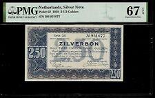 Netherlands  2 1/2 Gulden 1938 PMG 67 EPQ  P#62 PMG Population 1/0 Silver Note