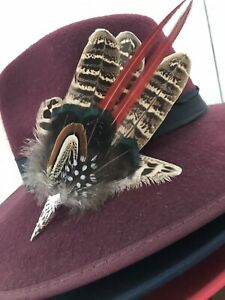 Pheasant, Lady Amherst & Guinea Fowl  Feather Hatpin In Silver Tone Cone.