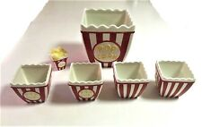 New listing Alco Ceramic 6 Pc Popcorn Bowl Set (1) Large - (4) Small - (1) Salt Shaker Set