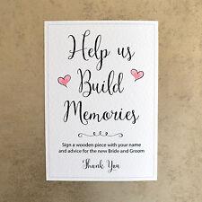 Help us Build Memories Wedding Sign - 260gsm Hammer Card