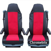 2/PAIR RED FABRIC TAILORED SEAT COVERS FOR VOLVO TRUCKS FH12 FH 16 FL FM FH16