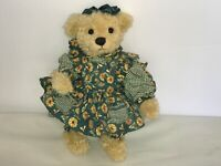 "Mary Holstad Collectible Teddy Bear 13"" in a SUNFLOWER dress - Signed Numbered"
