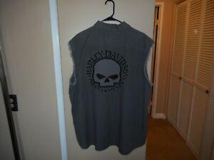 "Vintage Harley Davidson Black Label ""Willie G Skull"" Blowout Cutoff Vest 3XL HTF"