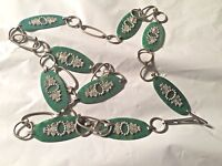"""ANTIQUE DECO BELT CELLULOID PLASTIC GREEEN & SILVER METAL EMBOSSED ACCENTS  39"""""""