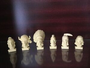 RARE KELLOGGS 1974 CORNFLAKES FAMOUS INDIAN CHIEFS HEADS - FULL SET OF 6