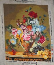"""Flower Arrangement """"Flowers and Fruits"""" Needlepoint Completed Finished Unframed"""