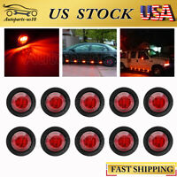 "10x 3/4"" LED Red Side Marker Lights for Auto Trailer Truck RV Indicator Light"