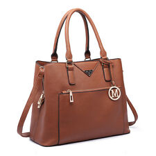 Ladies Structured PU Leather Tote Handbag Shoulder Bag Women Satchel Brown