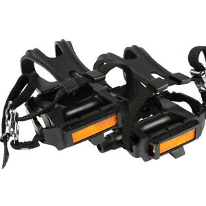 1Pair Bicycle Pedals With Toe Clips & Straps Road Bike MTB Black Anti-skid Pedal