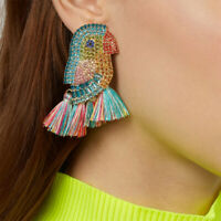 Fashion Shiny Parrot Crystal Tassel Statement Drop Dangle Earrings Bird Earrings