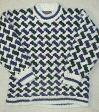 Vintage Ecuador Womens Chunky Cable Hand Knit Multicolor Wool Sweater Size S M