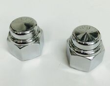 "2 CHROME FLAT TOP HAT ACORN CAP NUTS 1/2""-13 harley hd chopper bobber cafe xs"