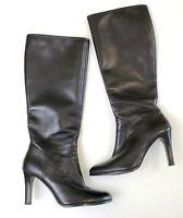 Ralph Lauren Bryce Black Black Knee High Boots Heels Shoes Side Zip Women's 7 B