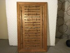 Antique Barbed Barb Wire Display wood 19 cuts on a board 1800s one 1930