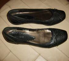 FABIANI® Ballerina Damen Slipper Freizeit Schuhe Echtleder Schwarz Gr.39