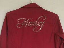 Harley-Davidson Womens Blouse Shirt Small Red Studs Zip Closure Long Sleeve 2011