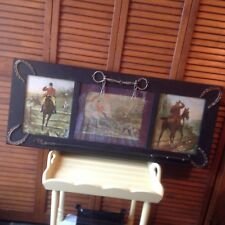 "ANTIQUE 3 FRAMED PRINTS FOX HUNTERS & HORSES CROP BRIDLE HORSE SHOES 37"" X  15"""