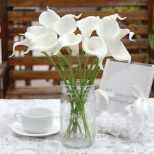 OurWarm 12×Pure White Artificial Calla Lily Real Touch Flower Wedding Home Decor