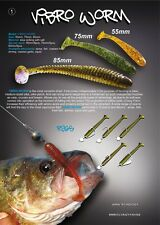 "5 leurre souple Vibro Worm 3"" CRAZY FISH 75mm  pêche streetfishing perche sandre"