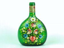 FRANKEN Green GERMAN WINE BOTTLE Hand Painted FLOWERS Floral Germany
