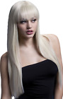 Ladies Platinum Professional Quality Long Straight With Fringe Fancy Dress Wig