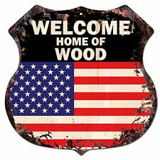 BP-0318 WELCOME HOME OF WOOD Family Name Shield Chic Sign Home Decor