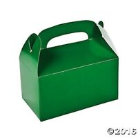 6 Green Treat Goody Boxes Birthday Party Favors with Handles