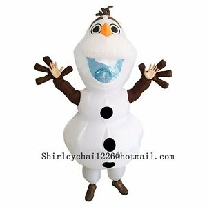 Olaf Halloween Snowman Inflatable Olaf Costume for Adult Fancy Suit White