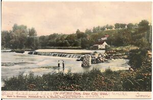 The Old Mill Dam, Iowa City IA Postcard 1907