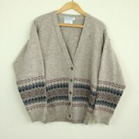 Vintage Gokey Company Lambswool Cardigan Scotland M Womens Fair Isle Tan