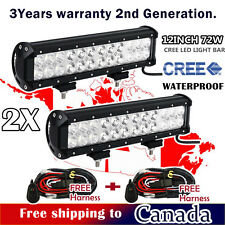 2x 72W 12inch CREE LED Light Bar Combo Beam Work Off road Truck Driving Jeep SUV