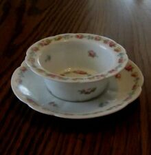 Antique C & A Limoges Lovely Colorful Roses Swag Ramekin Custard 1894-1930