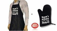 Onorevoli uomini donne Grembiule & Guanti Forno Set Cottura Chef Kitchen DONT Mess With CHEF