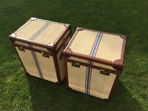 Pair Vintage Leather French Sack Trunks Antique Luggage Trunk Side Table Storage