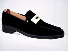 GUCCI Classic Black Suede GoldTone Gucci Signature Buckle Loafers Size 5 1/2 B