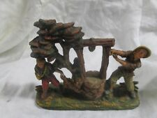 VTG ITALIAN PAPER MACHE NATIVITY CRECH FIGURE OF 2 BOYS W/DOG AT WELL FONTANINNI
