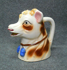 Vintage Cow Head Bust Creamer Pitcher White Brown Spots Curls Blue Bells Japan
