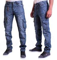Mens Jeans EM391 Straight Leg Cargo Combat Trousers in Blue Wash Colour