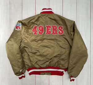 Vintage 90s San Francisco 49ers Satin Jacket by Starter Size XL Gold Niners