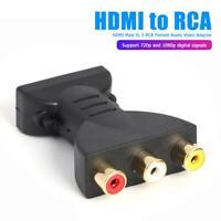 HDMI Maschio A 3 Rca Femmina Composito Audio Video Av Adattatore Converter X TV