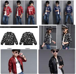 Kids Faux Leather Bike Jacket Boy/Girl Leather Jacket Size 3-16 Years Deluxe