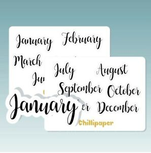 LARGE Months of the year, Bujo stickers, Planner Stickers, script,  #1082