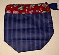 "Gift Bag Blue with Red Heart Trimmed Boxed Bottom 8 1/2 X 9"" Handmade"