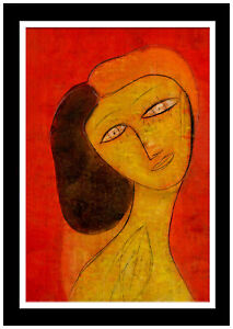 Jamali Large Original Painting Pigmentation Cork Modern Female Portrait Signed